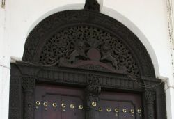 Detail of the main door to the Sultan's Palace in Zanzibar, Tanzania